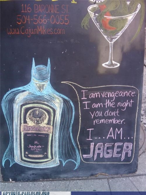 batman booze cajun-mikes gotham jagermeister sign - 5332803584
