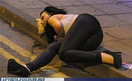 curb,drunk,heels,pants,passed out,Pillow,pizza
