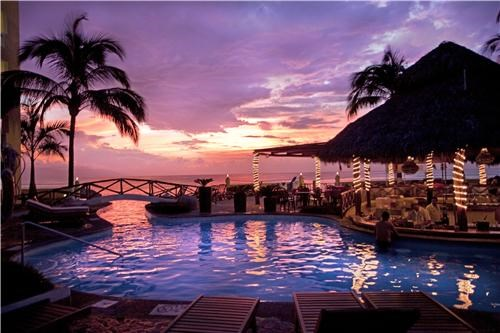 beautiful,blue,mexico,north america,orange,pool,puerto vallarta,purple,resort,sunset