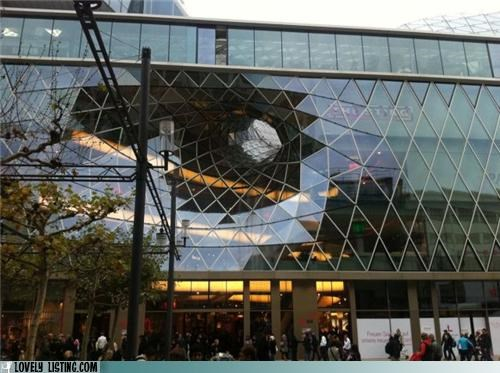 building,glass,hole,sculpture,tunnel