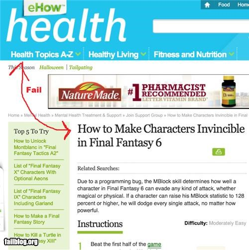 Health Fail Searching for Final Fantasy info took me to info on a health site. Do they know about Cure 3?