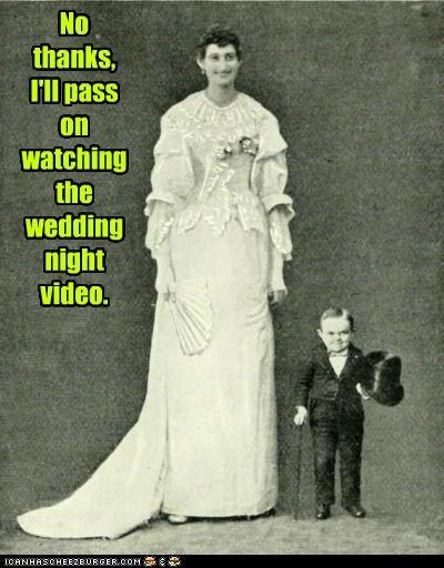 No thanks, I'll pass on watching the wedding night video.