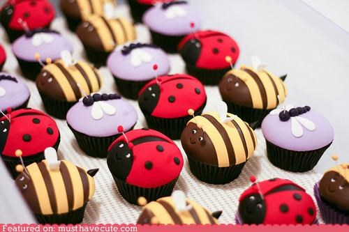 bees bugs cupcakes dragonflies epicute fondant insects ladybugs - 5334196992