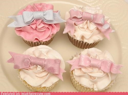 bows cupcakes epicute fondant frosting girly - 5334199040