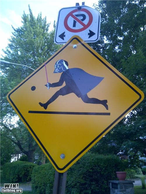 crossing,darth vader,hacked irl,nerdgasm,sign,star wars,warning