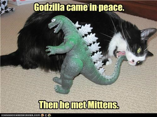 came caption captioned cat godzilla mittens peace toy until - 5335146240