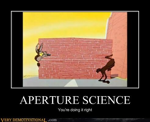 aperture science,hilarious,Portal,right,wile e coyote