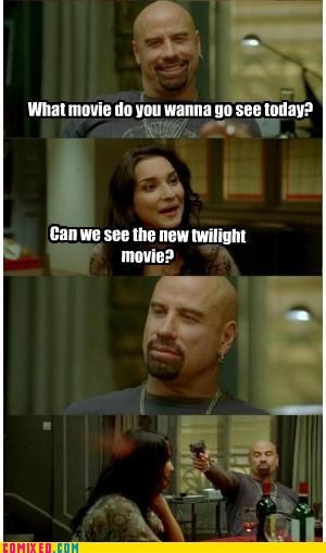 What movie do you wanna go see today? Can we see the new twilight movie?