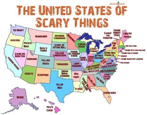 infographic,US of Scary Things