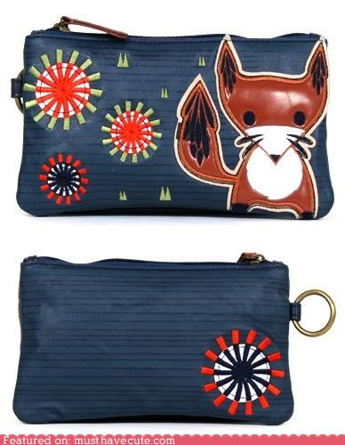 applique,fox,pouch,wallet,zipper