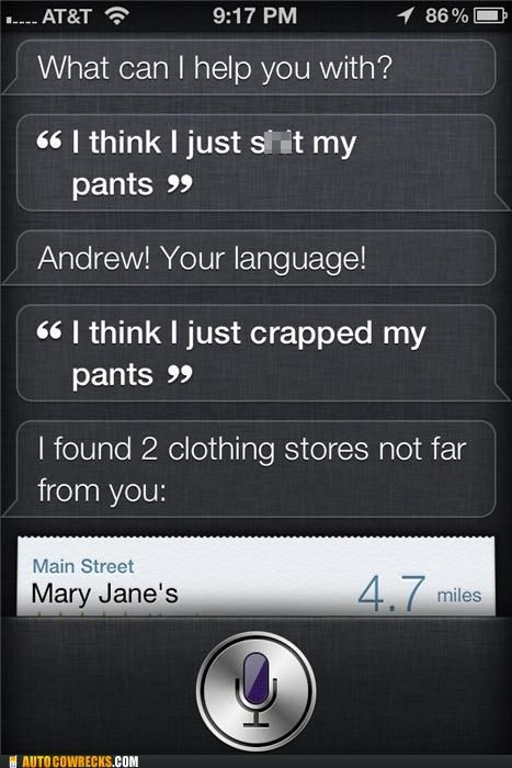 clothing,language,pants,poop,siri,swearing,swears