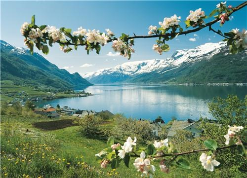 blue europe green lake mountains Norway serene town user submitted - 5335927552