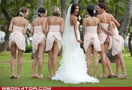 bride bridesmaids funny wedding photos underwear