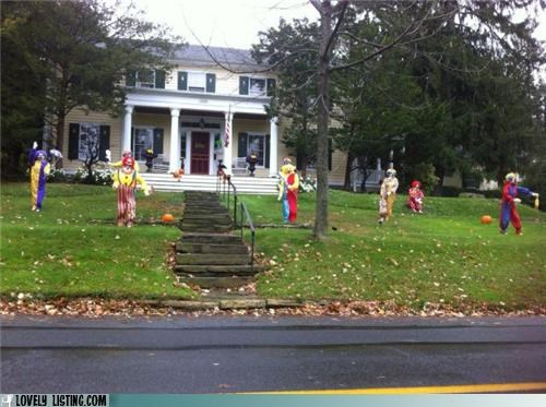 clowns,halloween,scary,yard