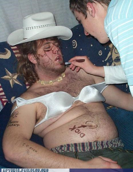 accessories,bra,cowboy hat,drunk,matching,passed out,sharpie