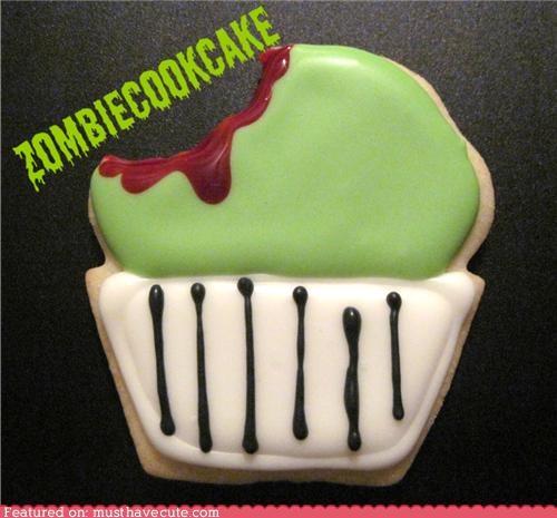 bite cookies cupcake epicute halloween icing zombie - 5336656128