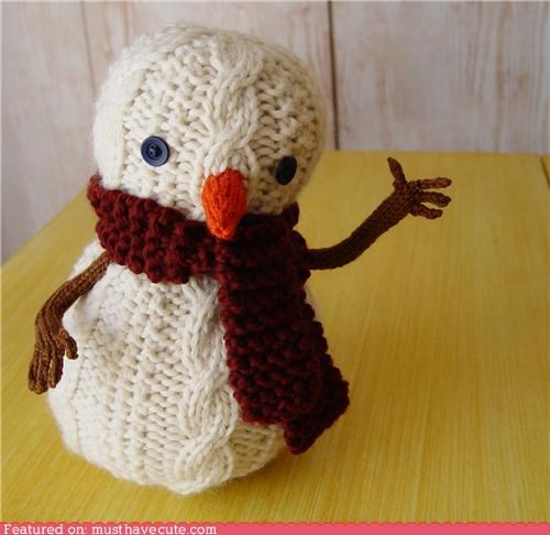 cable knit Knitted snowman toy yarn - 5336667392