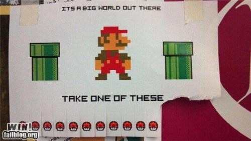 mario,nerdgasm,sign,Super Mario bros,take one,video game
