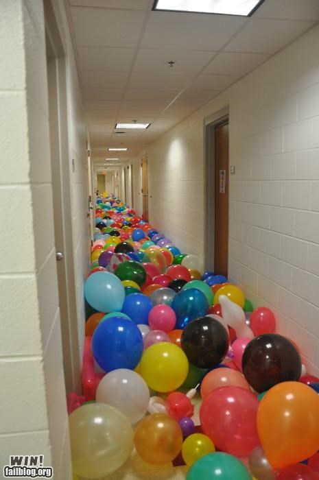 balloon,college,dorm,prank,pretty colors