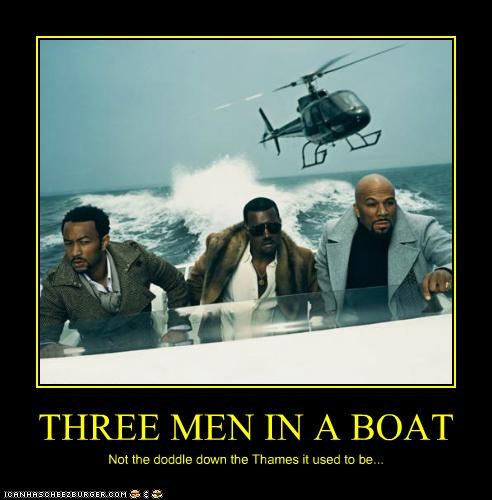boats common helicopters john legend kanye west rappers three men in a boat - 5336990976