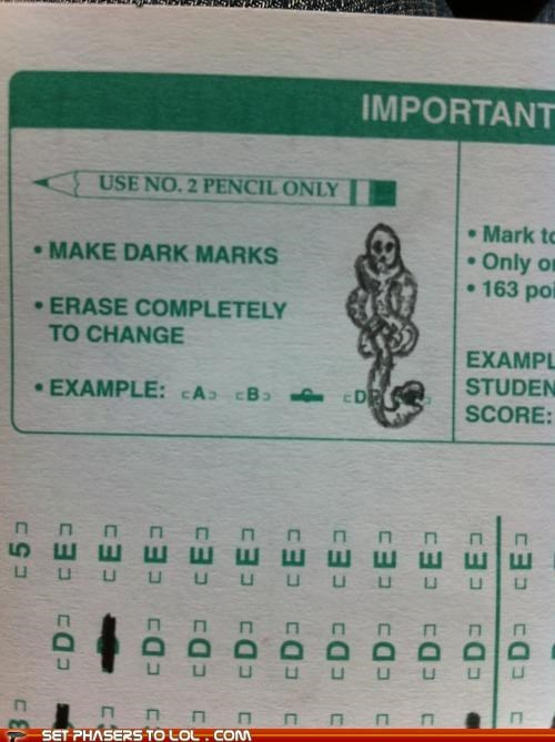 dark mark death eaters Harry Potter scantron snake tests