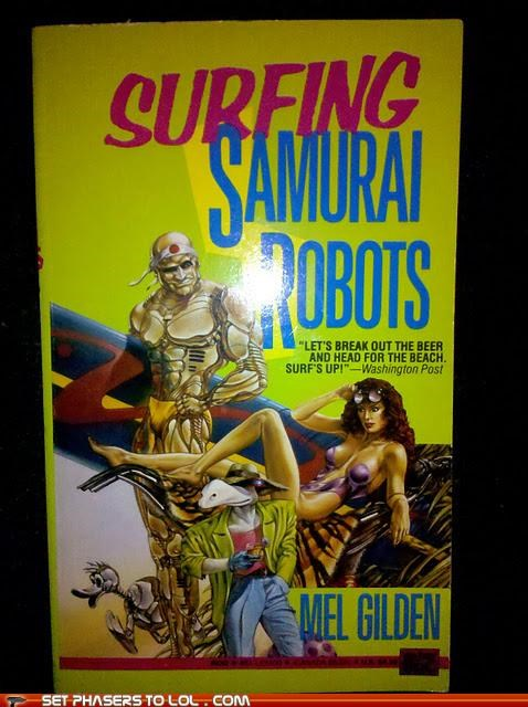 book,cover art,robots,samurai,sci fi,surfing,wtf
