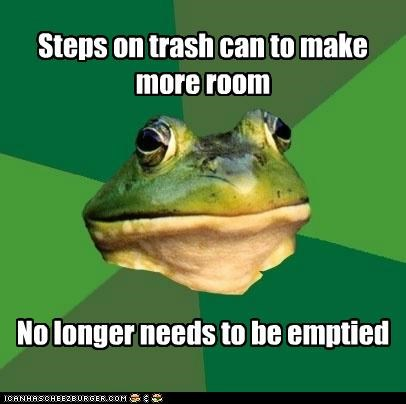 bill nye,empty,foul bachelor frog,inertia,space,trash