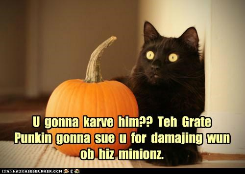 U gonna karve him?? Teh Grate Punkin gonna sue u for damajing wun ob hiz minionz.