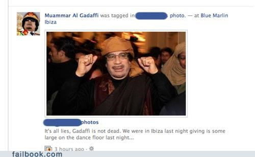 Gadhafi not dead partying tagged
