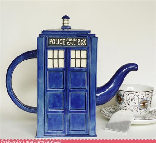 blue ceramic doctor who police pox tardis teapot