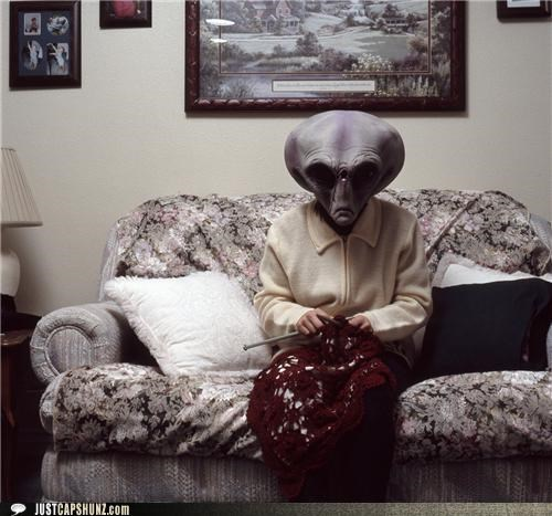 alien,alien gramma,alien grandma,alien grandmother,caption contest,knit,Knitta Please,knitting