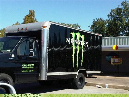 double meaning,drink,energy drink,Grave Digger,literalism,monster,monster truck,truck