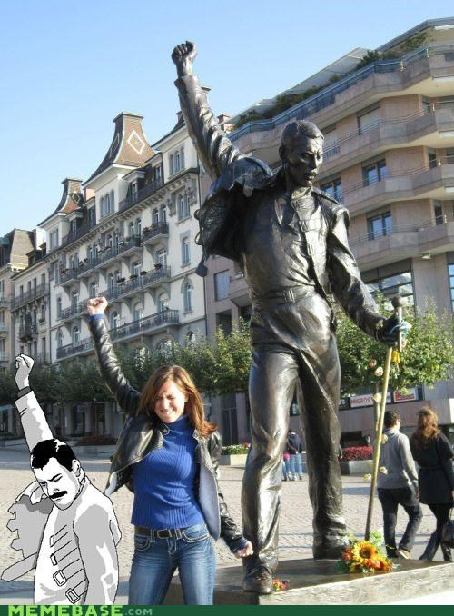 freddie mercury,fun,girl,queen,Rage Comics,statue