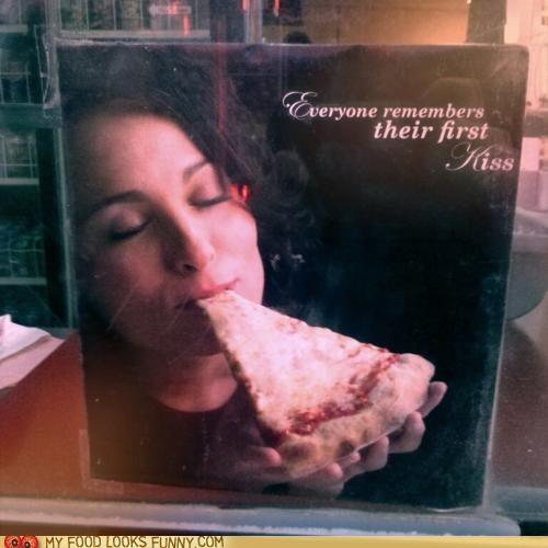 cheese,KISS,pizza,sign,window,woman