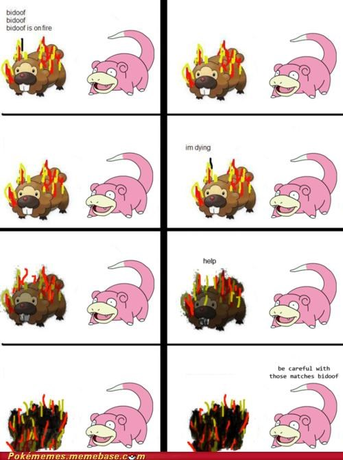 bidoof,comic,fire,im dying,matches,slowpoke
