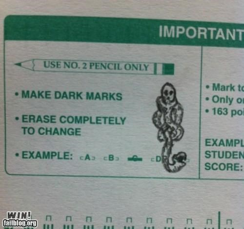 dark mark Harry Potter nerdgasm response school test