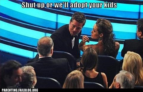 adoption,Angelina Jolie,awards show,brad pitt,celeb,Parenting Fail,quiet,roflrazzi