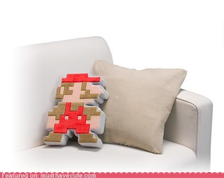 8 bit couch decor mario Pillow