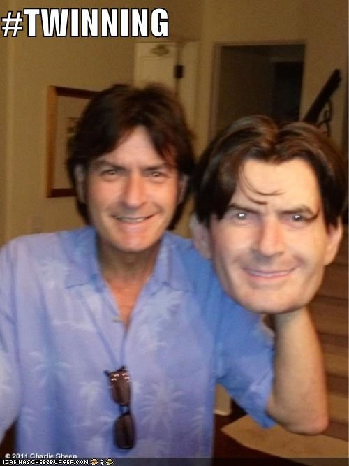 Charlie Sheen hashtags masks puns twins winning - 5340449280