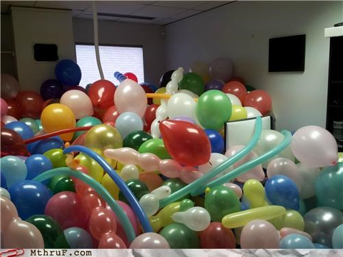Balloons,desk,FRIDAY,office prank,tin foil,toilet paper