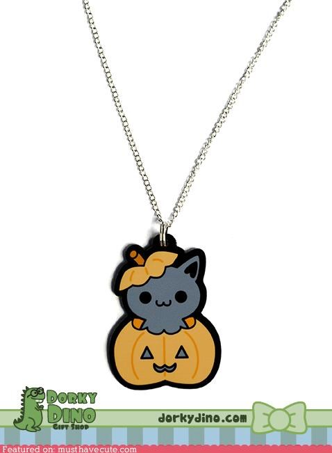 acrylic halloween Jewelry kitty necklace pendant pumpkins - 5340453632