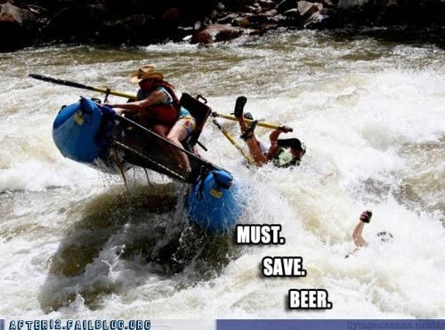beer,fall,must,overboard,rafting,river,save,splash,water