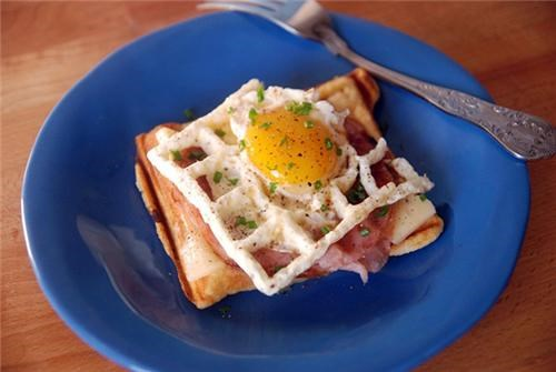 Afternoon Snack croque-madame eggs food Photo waffle iron - 5340600320