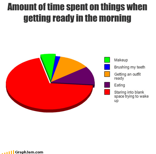 Amount of time spent on things when getting ready in the morning