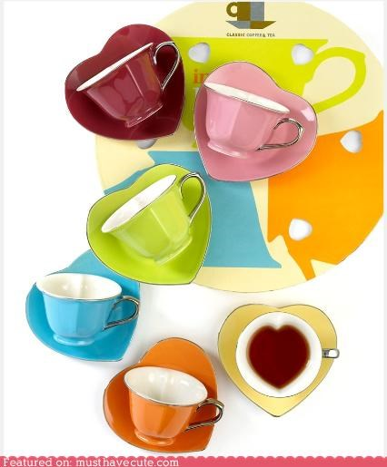 ceramic cups heart saucer tea teacups - 5340905728