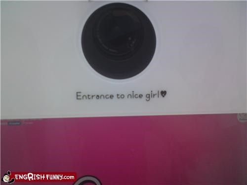 bad wording entrance nice girl hole
