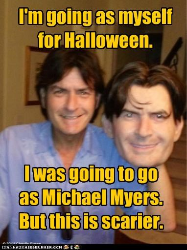 Charlie Sheen,costume,halloween,losers,masks,michael meyers,scary