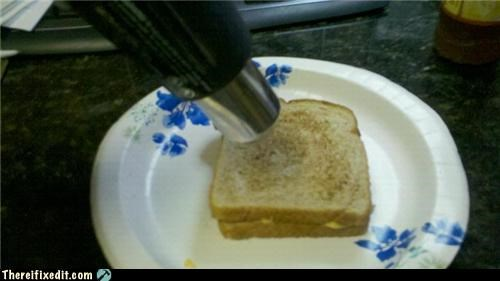 Grilling a cheese sandwich with a heat gun.