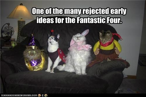 caption,captioned,cat,Cats,costume,dressed up,early,Fantastic Four,ideas,many,marvel,one,rejected