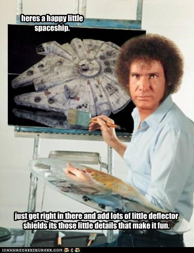 bob ross,Han Solo,Harrison Ford,Millenium Falcon,painting,star wars